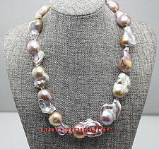 "AAAAA RARE NATURAL 17"" 30mm south sea baroque pink gold purple pearl necklace"