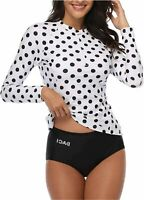 Daci Women Rash Guard Long Sleeve Zipper Bathing Suit, Black Dot, Size X-Small y