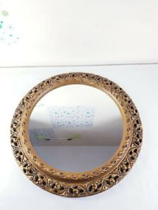 Antique/Vintage Bevelled Oval Mirror in a Heavy Deep Ornate Gold Gilt Frame