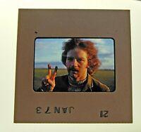 Vintage 1973 Amateur Photo 35mm Film Slide Red Hair Peace Sign Hippie Man