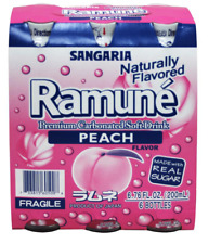 Sangaria Ramune Marble Soft Drink Peach Flavor 6 bottle Pack, Free Shipping