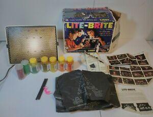 Vintage 1967 Hasbro Lite Brite Lite-Brite Lots of Pegs Used sheets Works