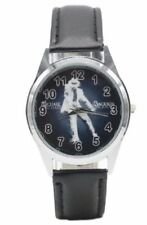 Michael Jackson Pop Star Black Genuine Leather Band Wrist Watch
