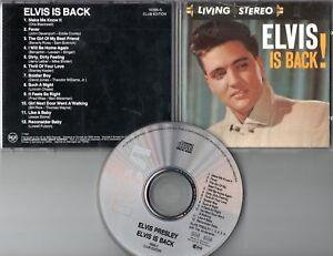 Elvis Presley  CD  ELVIS IS BACK    (c)  1960 / 1988    CLUB EDITION