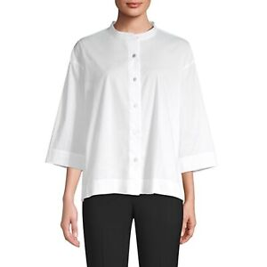 Eileen Fisher Organic Cotton Shirt kimono sleeve White Mandarin Lagenlook M $168