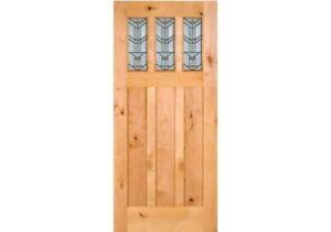 ETO Doors Craftsman Exterior Knotty Alder Wood 3-Lite Entry Door w Beveled Glass