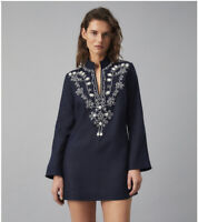 NWT, $398 Tory Burch Navy Sea Blue Embellished Linen  Tunic  W/Puka Shells Sz.10