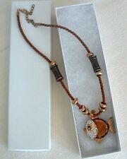 "FISH Pendant NECKLACE Rope ""Chain"" Beads Acrylic ""Stone"" w/ DIAMOND -Like Stones"