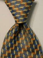 ERMENEGILDO ZEGNA Men's 100% Silk Necktie ITALY Luxury Geometric Blue/Yellow EUC
