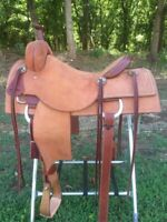 Western Natural Leather Hand Carved Roper Ranch Saddle with Strings  5270