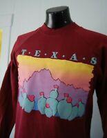 Vintage Texas Sweatshirt Unworn Soft Thin Indie NOS Cactus Sunset Crewneck