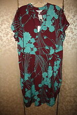 Anna Scholz NWT Wine Blue Green Multi-Color Floral Double Silk Oriental Dress 16