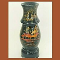 Oriental Lacquered Wooden Vase Hand Painted Vintage Rare Hard to find Design