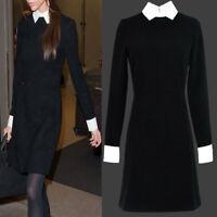 Hot Lady's Black Dress Longsleeve Peter Pan white Collar Dresses NEW