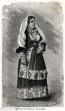 Quartu Sant'Elena: Costume Sardo Femminile. Cagliari.Sardegna.Stampa Antica.1901