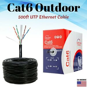 500ft Cat6 Outdoor Ethernet Cable UV Rated 23AWG UTP Solid Direct Burial Black