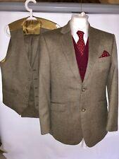 Vintage Mens Check Tweed 3 Three Piece Suit Jacket & Trousers Waistcoat 38S 34w