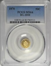 1870 BG-1010 PCGS MS 64 Uncirculated UNC California Gold Fractional 50c Coin
