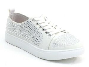 Off White Rhinestone Bridal Sneakers Sneaks Flats Tennis Shoes (Order up a size)