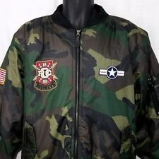 Rocawear Mens Camouflage Bomber Jacket Camo Airman Task Force Patches Size Large