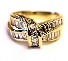 18k yellow gold 1.38ct princess baguette diamond wedding band ring 6.5g vintage