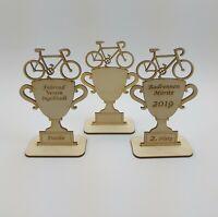 Pokal Naturholz Mountainbike Rennrad Personalisiert Geschenk aus Holz Ruhestand