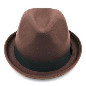 Vintage Unisex Felt Fedora Cap Trilby Hat Wool Blend Bowler Caps Black Band New