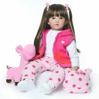 60cm Bebe Lifelike Silicone Vinyl Reborn Doll Handmade Baby Toddler Xmas Gift