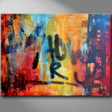 Contemporary graffiti painting red orange yellow blue palette knife art by Anya