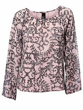 NEW BEST CONNECTIONS PINK PRINTED LONG SLEEVE BLOUSE TOP SIZE 10