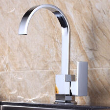 Square Single Lever Kitchen Sink Mixer Tap with Swivel Spout Chrome Brass
