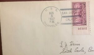 MINESWEEPER -WILLIAM EATON CHANDLER( DD-206)- 1937 NAVAL POSTAL HISTORY COVER