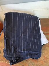 "Vintage Ralph Lauren Bed Skirt Navy Blue Pinstripes 17"" Drop Tailored CAL KING"