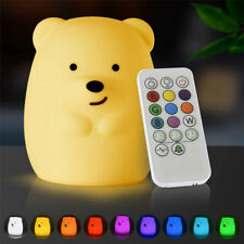 Kids Children Night Light Cute Bear Silicone LED Lamp Nursery Bedroom Decor Gift