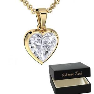 Herzkette Gold ❤️ Halskette Damen-Kette Herz-Anhänger Geschenk für Frauen