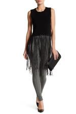 NWT $165 Romeo & Juliet Couture Sleeveless Cropped Knit Tank Fringe Black SizeS