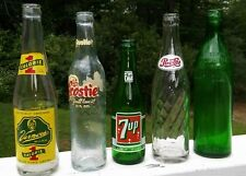 Set of 5 Vintage Glass Soda Pop Bottles: Pepsi 7-UP, Vernors, Frostie Clicquot