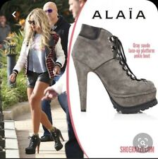 ALAIA $1,725 Gray Suede Platform Hiking Lace-Up Ankle Boots 37.5