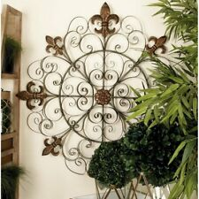Metal Wall Fleur de Lis Medallion Antique Hang Decor Vintage Outdoor Indoor Art