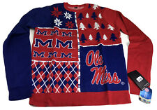 NWT NCAA Ole Miss Christmas Sweater Busy Block Large Mississippi