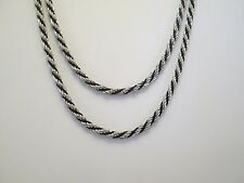 "Vintage 17"" Double Strand Silver Fashion Rope Chain Necklace   S70"