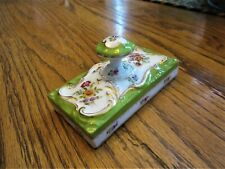 Antique Porcelain Hand Painted? Saxonia Floral Paperweight Charles Ahrenfeldt?
