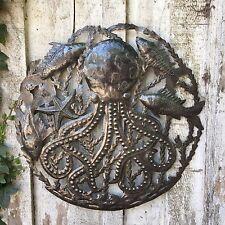 """Octopus Ocean Wall Art, Haitian Recycled Steel Sculpture, 23"""" X 23"""""""