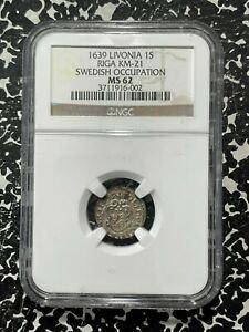 1639 Livonia Riga 1 Solidius NGC MS62 Lot#G435 Silver! Nice UNC! KM#21