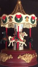 Vintage Animated Musical Christmas Carousel Spins Horses Move 16 Carols Battery