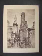 Anton Schutz Lithograph Etching New York City Trinity Church 1939