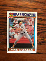 1991 Topps #390 Jose Canseco Baseball Card Oakland Athletics A's AL All Star Raw