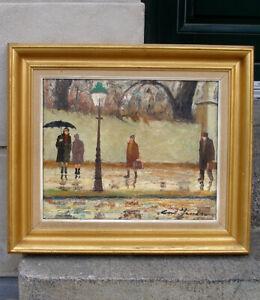 Cort Jacobsen (1911) A Wet Autumn day. Copenhagen city.  Fine expressionist oil