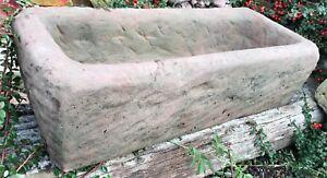 Trog Pflanztrog Pflanz Kübel groß Kunst Sandstein Antik Look Steinguss B 19 ROT