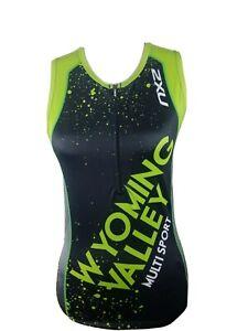 2XU Triathlon Sleeveless Compression Top Tank Womens Size M Green Black Wyoming